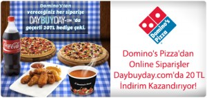 Pizzanı online sipariş et, Daybuyday.com'dan 20TL değerinde indirim kuponu kazan