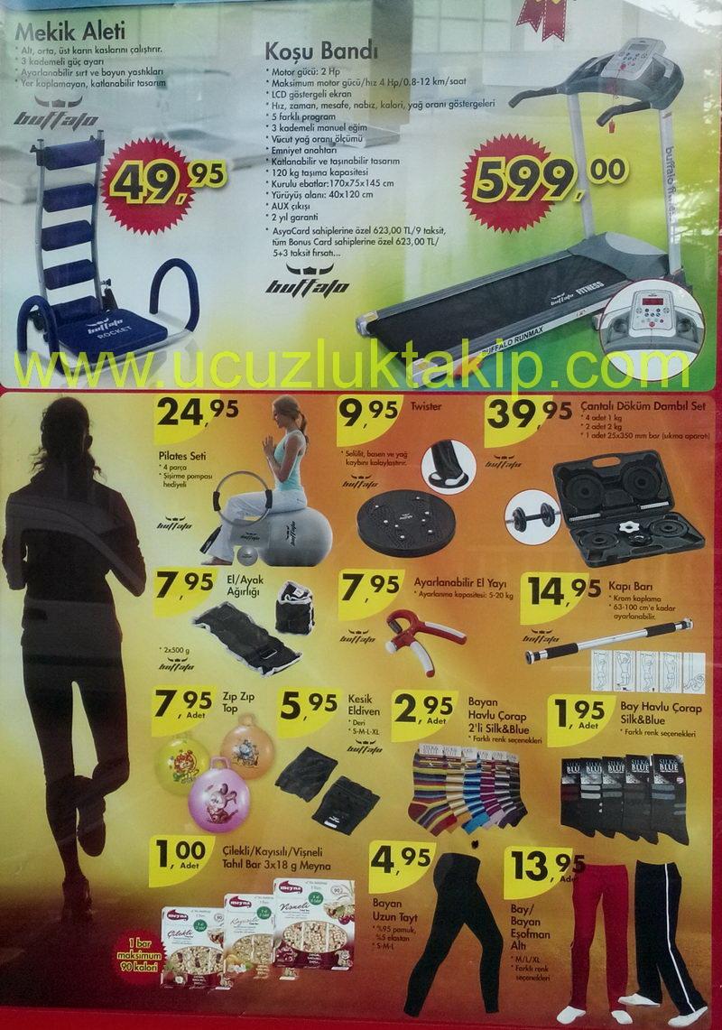 A101 Marketlerinde 20 Şubat 2014 Perşembe gününden itibaren satışa sunulacak fırsat ürünleri; Buffalo Mekik Aleti 49,95 TL Buffalo Koşu Bandı 599,00 TL Buffalo Pilates Seti 4 Parça 24,95 TL Buffalo Twister 9,95 TL Buffalo Çantalı Döküm Dambıl Set 39,95 TL Buffalo El/Ayak Ağırlığı 7,95 TL Buffalo Ayarlanabilir El Yayı 7,95 TL Buffalo Çantalı Döküm Dambıl Set 39,95 TL Buffalo Kapı Batı 14,95 TL Zıp Zıp Top 7,95 TL Buffalo Kesik Eldiven 5,95 TL Silk&Blue Bayan Havlu Çorap 2,95 TL Silk&Blue Bay Havlu Çorap 1,95 TL Bayan Uzun Tayt 4,95 TL Meyna Çilekli /Kayısılı/Vişneli Tahıl Bar 3x18 gr 1 TL Bay/Bayan Eşofman Altı 13,95 TL Nehir Tatlı Kaşığı/Tatlı Çatalı 1,50 TL Nehir Yemek Kaşığı / Yemek Çatalı 2 TL Sinbo 2928 Elektrikli Cezve 22,50 TL Orta Boy Çaydanlık 19,50 TL Nehir Çay Kaşığı 3,95 TL Paşabahçe Baharatlık 5'li 3,95 TL Gürallar Saklama Kabı 1,45 TL Üçsan Plastik Yuvarlak/Kare Kase 4,50 TL Toz Şekerlik 2,50 TL Oyu8ncak Sevimli Puşet 5,95 TL Oyuncak Anahtarla Çalıştırılan Araba 3,95 TL Tarih Kitapları 4,95 TL Tek Kişilik Sıvı Geçirmez Alez 9,95 TL Tek Kişilik Nevresim Takımı 24,95 TL Protex Antibakteriyel Sabun 4x75 gr 2,95 TL Doğadan Kış Çayı 20'li 2,95 TL Cafelux Dibek Kahvesi 200 gr 4,95 TL Antalya Reçelcisi Ceviz-İncir/ Nane Limon Kabuğu Reçeli 300 gr 3,25 TL Marbir Siyah Zeytin 1 kg 7,95 TL Acura Tansiyon Aleti 19,95 TL